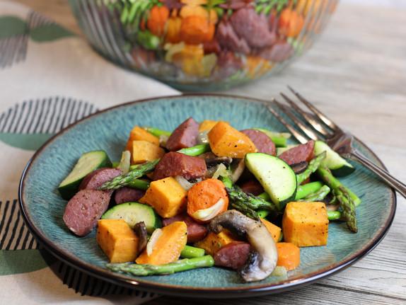 Roasted Kielbasa and Vegetables
