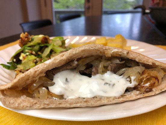 Greek Beef Pitas with Yogurt Sauce
