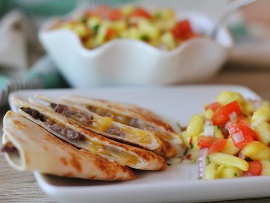 Steak Quesadillas with Pineapple Salsa
