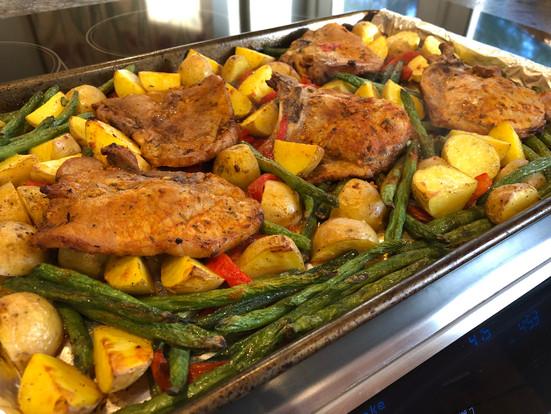 Roasted Pork Chops Sheet Pan Dinner