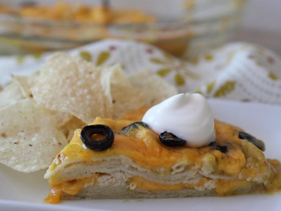 Chicken and Cheese Tortilla Pie