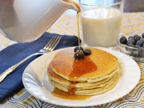 Blueberry Banana Protein Pancakes