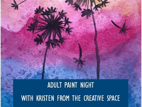 Contact the library to Sign-up for Adult Paint Night and learn how to create this watercolor...