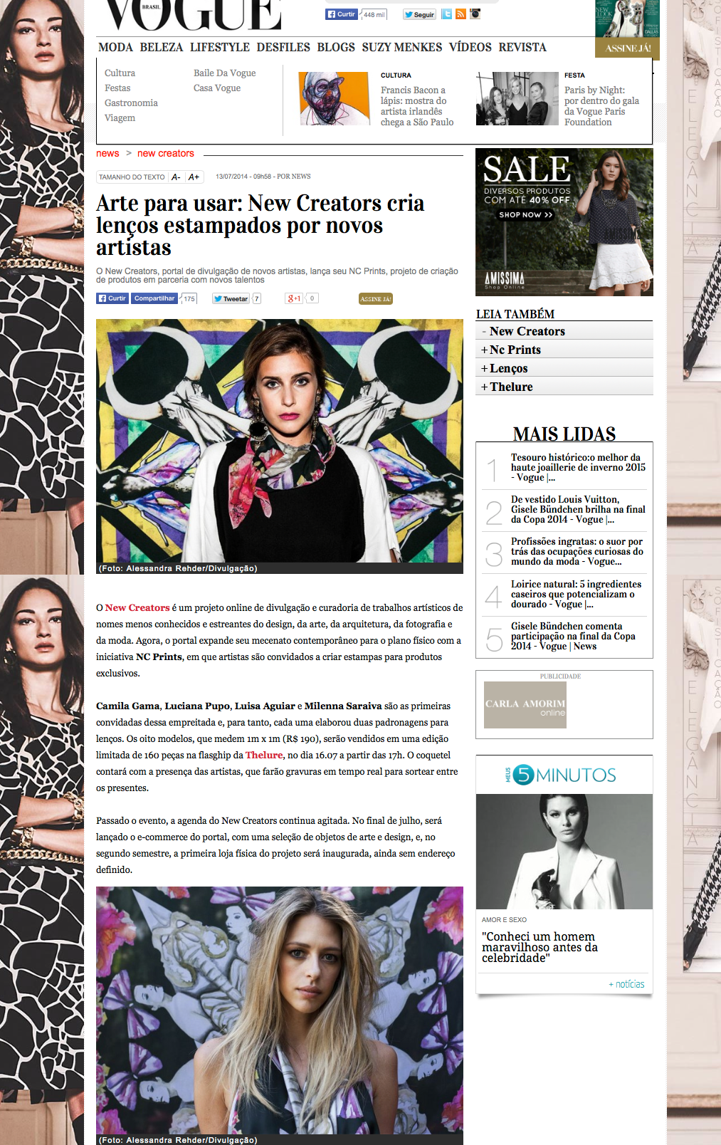 Artigo Vogue Brasil | Julho 2014