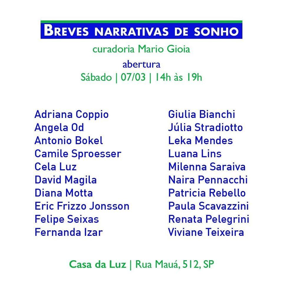 Breves Narrativas de Sonho | São Paulo 2020