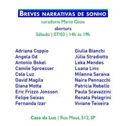Breves Narrativas de Sonho   São Paulo 2020