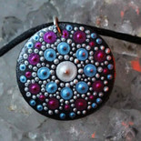 Hand Painted Pendant Necklace.