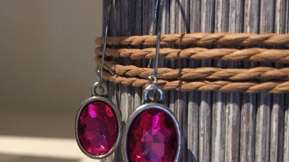 Hot pink crystal drop earrings