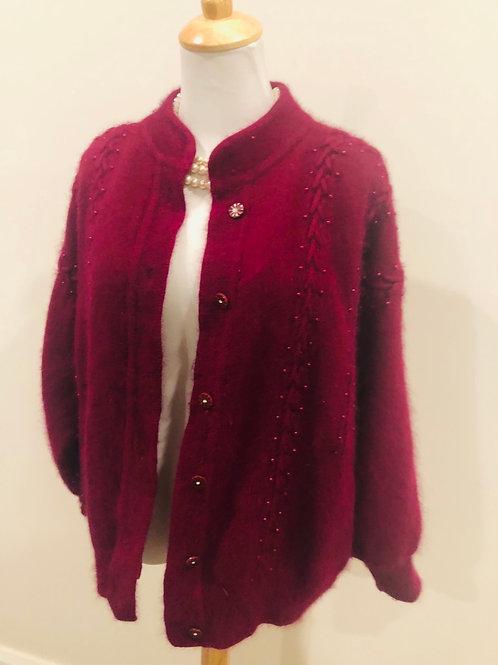 Vintage pure angora wool burgundy cardigan