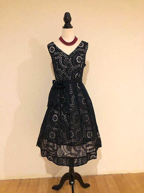 Peruna cotton and silk black lace frock