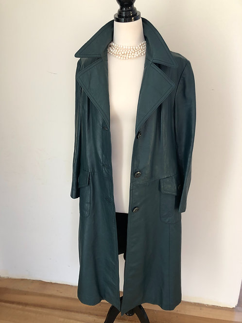 Vintage 1970's long leather green trench