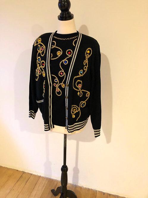 Vintage 1980's Italian wool with beading detail set