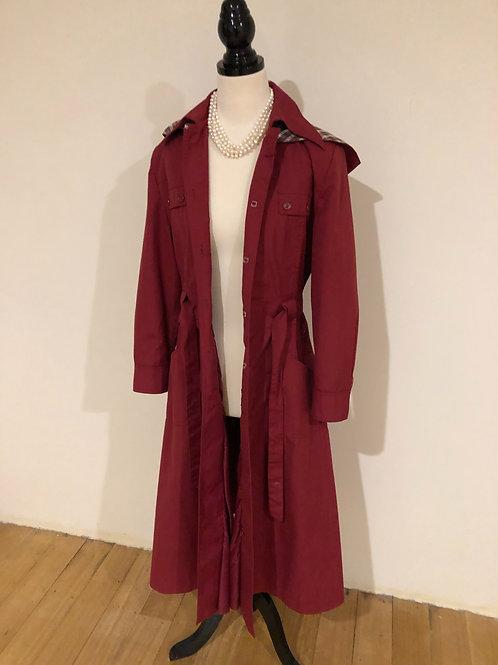 Vintage 1970's burgundy trench coat