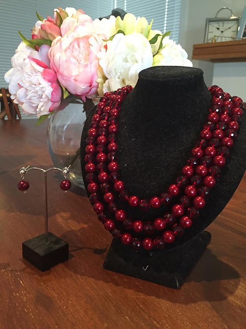 Australian made glass pearl necklace and earrings