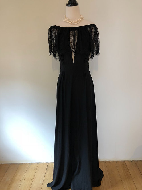 Brand new NYC silk gown with French lace