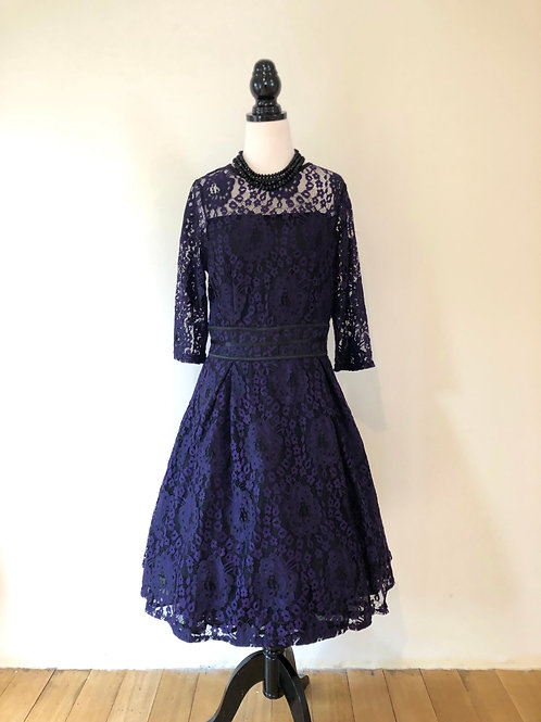 Purple lace 1950's style evening dress