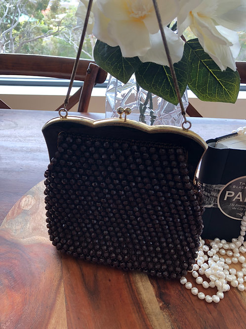 Vintage 1950's beaded dark chocolate brown and gold evening bag