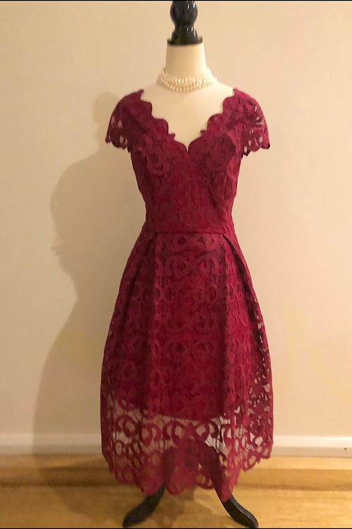 Review burgundy lace scalloped frock
