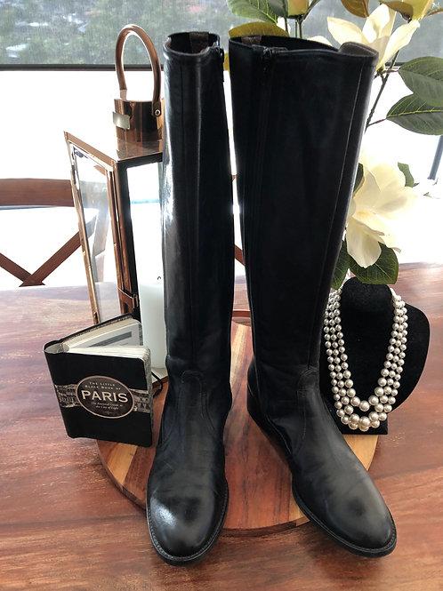 Designer black leather long boots