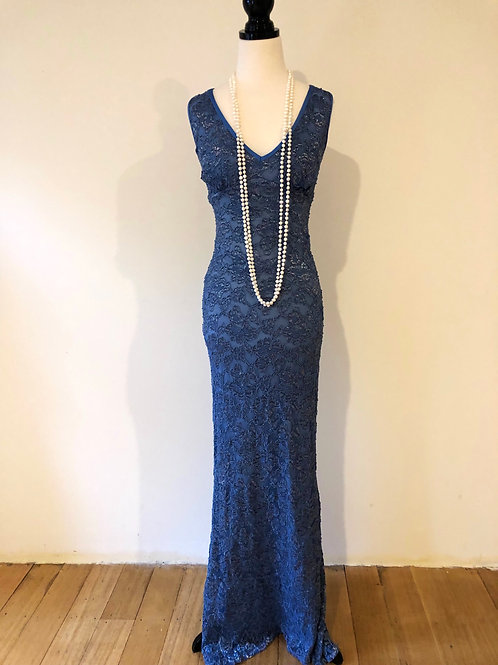 Vintage long blue lace evening gown