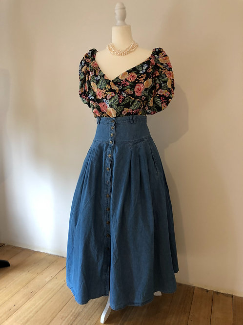 Vintage denim denim high waisted skirt