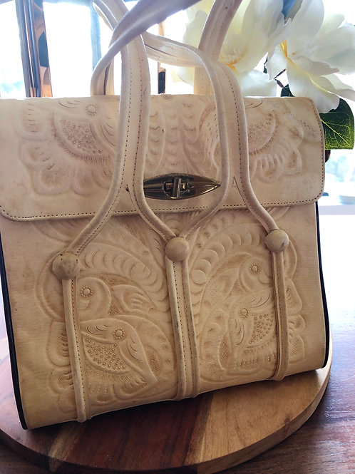 Vintage 1970's boho tooled leather Mexican bag