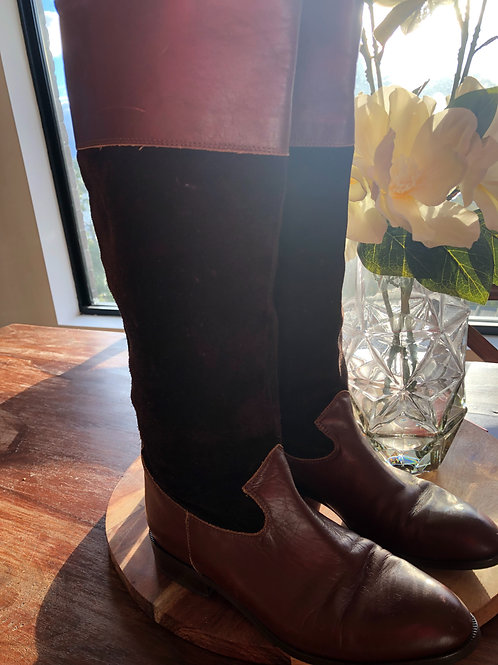 Italian vintage leather and suede long boots
