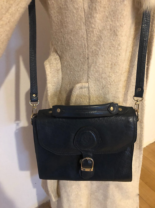 Vintage Italian navy leather bag