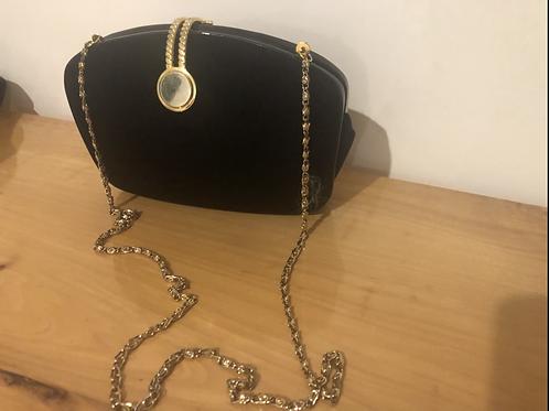 Vintage 1980's velvet and gold chain evening bag