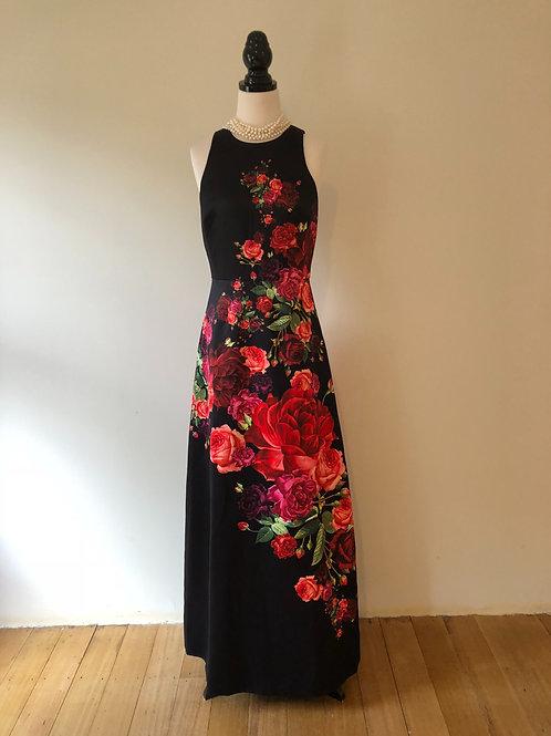 Ted baker long black satin evening floral dress