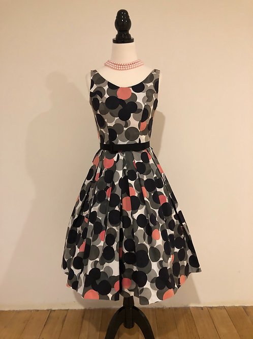 Australian made 1950's style cotton spandex polka dot frock