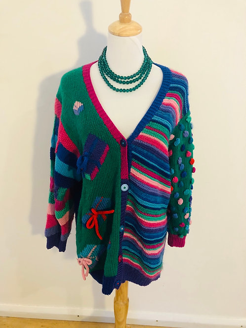 Vintage 1980's amazing handmade wool cardigan