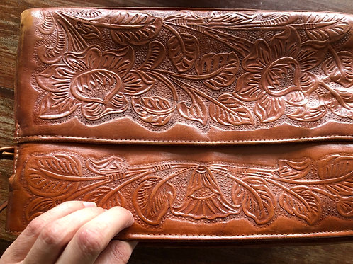 Vintage Mexican leather tooled bag
