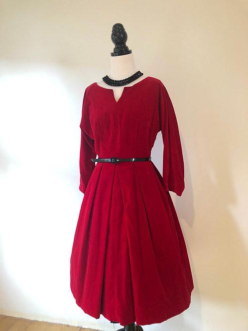 Vintage rare red velvet 1950's formal dress