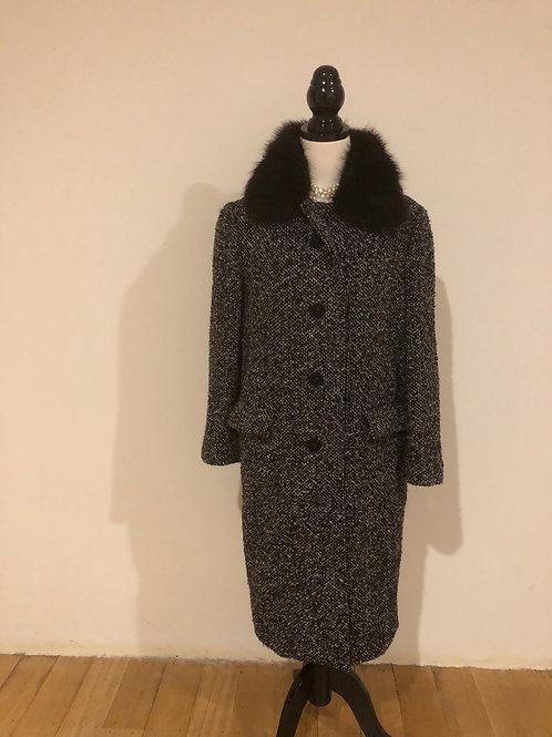Vintage 1950's wool tweed black and white coat