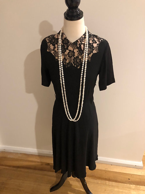Vintage 1940's rare crepe and lace frock