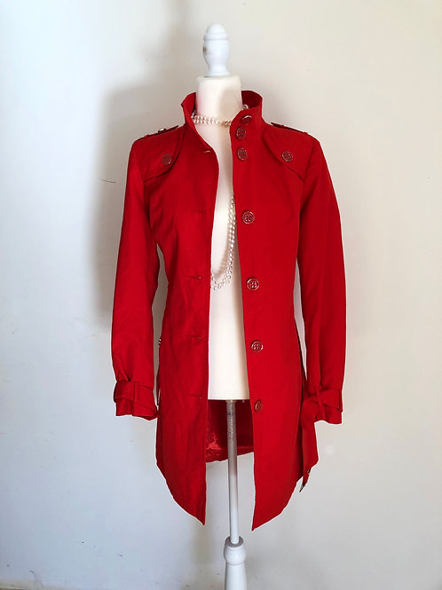 Wallis designer red military trench