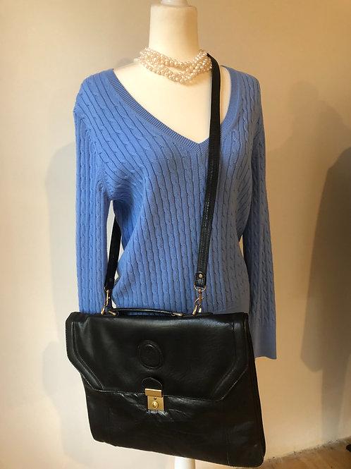 Vintage black Italian leather satchel