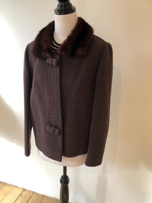1950's wool jacket removable fur trim
