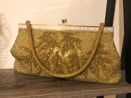 Vintage 1950's rare gold beaded evening bag