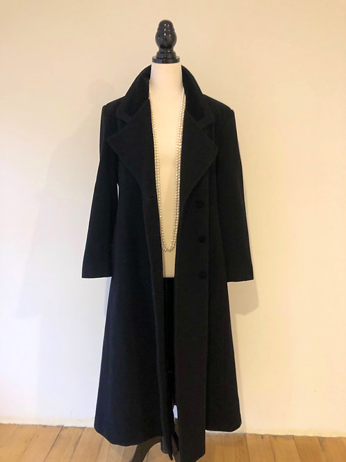 Vintage long black wool coat with velvet trim and buttons