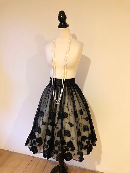 Evening 1950's tutu floral organza and satin skirt