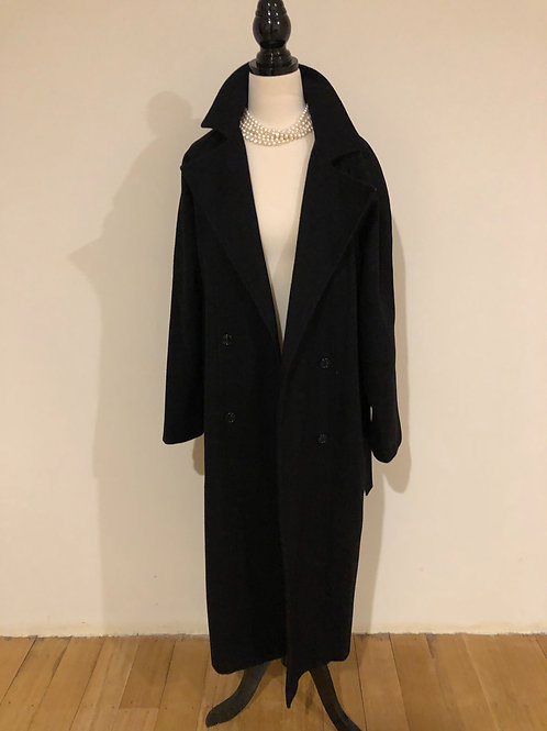 Vintage navy wool long trench coat