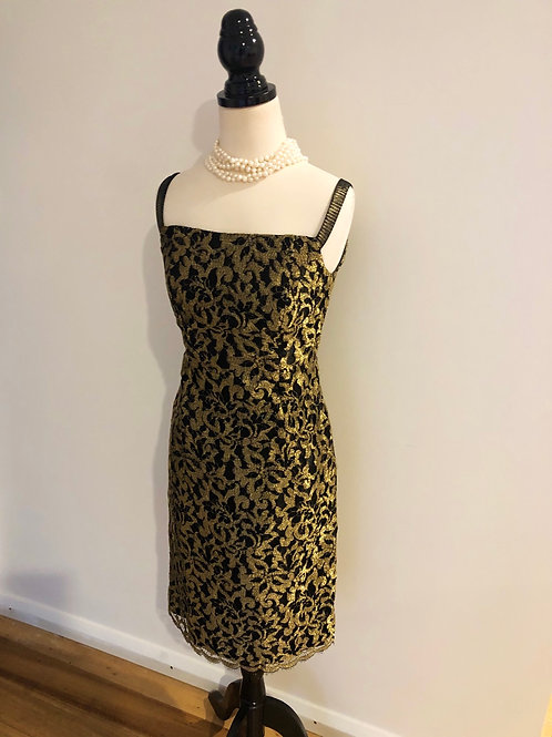 Vintage gold and black lace frock