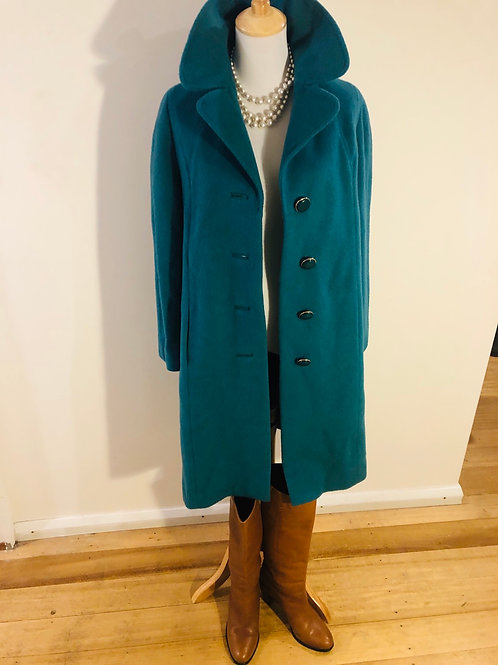 Vintage 1950's mohair made in England teal coat