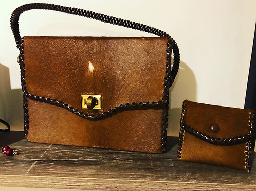 Vintage 1970's cow hide hand bag and purse