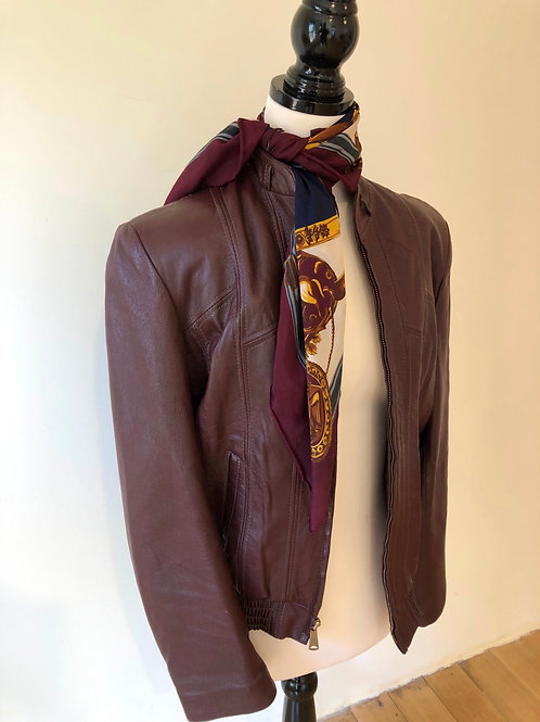 Vintage leather Mexican burgundy leather jacket