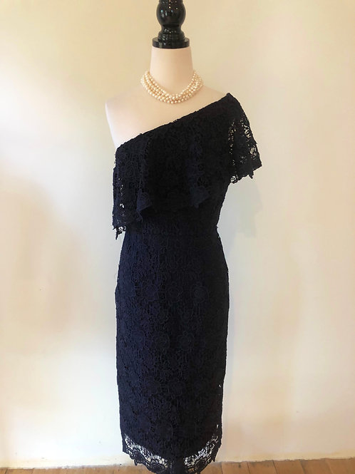 Designer brand new navy lace evening dress