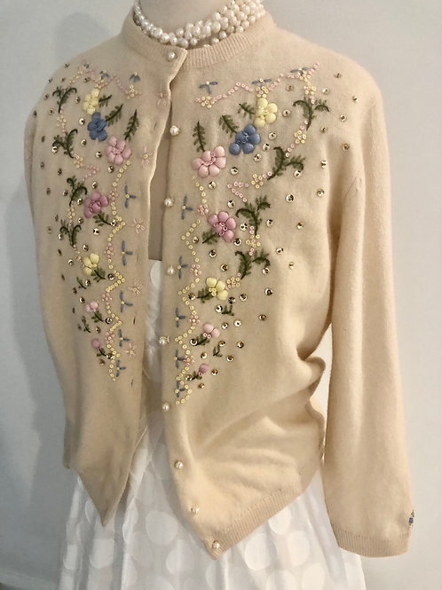 Vintage 1950's soft wool cardigan with embroidered floral sand pearls