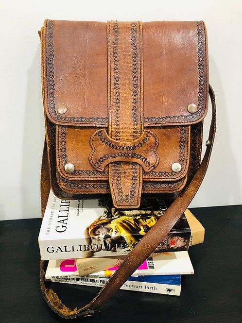 Vintage leather boho tooled rare bag